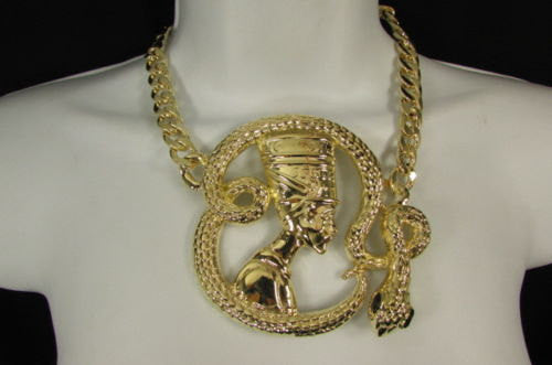 New Women Gold Metal Chain Fashion Necklace Big Egyptian Queen Snake Pendant - alwaystyle4you - 1