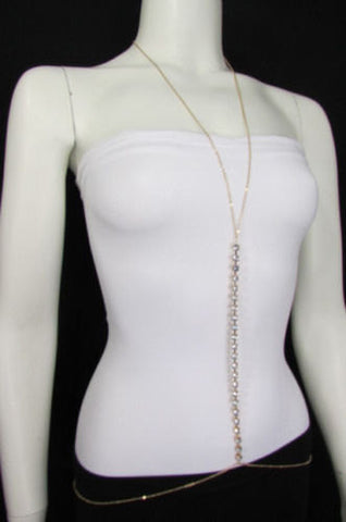 New Women Gold Multi Rhinestones Metal Body Chain Long Necklace Fashion Jewelry - alwaystyle4you - 1