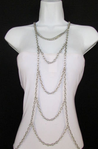 New Women Gold / Silver Body Chain Full Frontal Long Necklace Sexy Fashion Trendy Jewelry - alwaystyle4you - 2