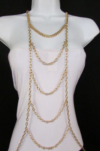 New Women Gold / Silver Body Chain Full Frontal Long Necklace Sexy Fashion Trendy Jewelry - alwaystyle4you - 4