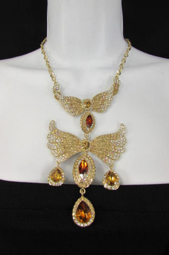 Metal Flying Wings Gold Silver Rhinestones Necklace + Earrings set New Women Fashion - alwaystyle4you - 2