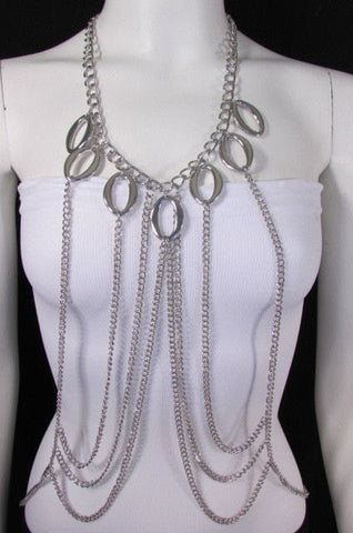 New Women Metal Front Waves Body Chain Fashion Jewelry Neck Draps Gold / Silver - alwaystyle4you - 1