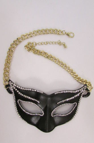 New Women Gold Metal Chain Black Venetian Face Mask Fashion Necklace Big Pendant - alwaystyle4you - 4