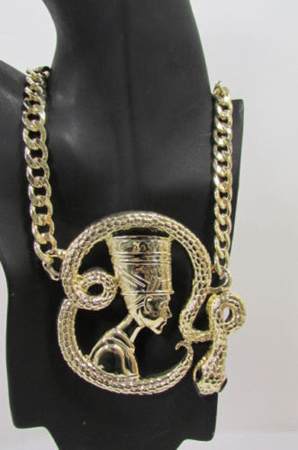 New Women Gold Metal Chain Fashion Necklace Big Egyptian Queen Snake Pendant - alwaystyle4you - 2