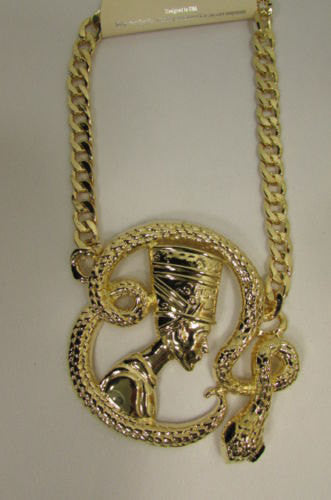 New Women Gold Metal Chain Fashion Necklace Big Egyptian Queen Snake Pendant - alwaystyle4you - 3