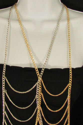New Trendy Women Gold Silver Metal Waves Body Chain Classic Jewelry Party Fashion Long Necklace - alwaystyle4you - 5