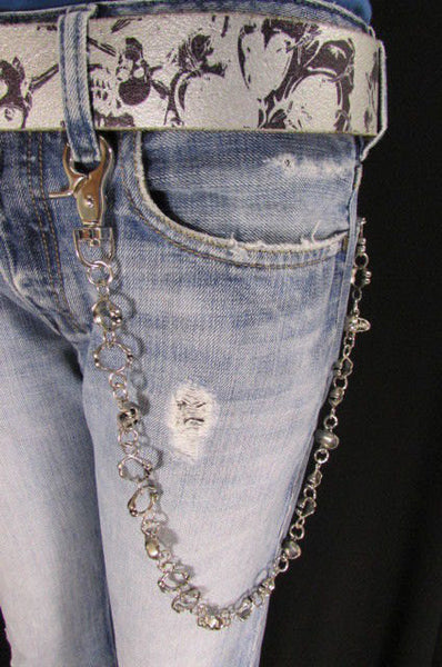 "Silver Metal 25"" Long Wallet Key Chain Links Skeleton Skulls Rings Rocker Punker Punk Rock New Men Fashion - alwaystyle4you - 3"