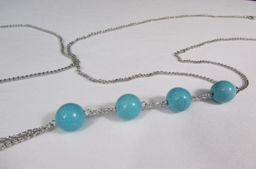 New Women Silver Body Chain Long Necklace 4 Big Turquoise Blue Balls Fashion Jewelry - alwaystyle4you - 5