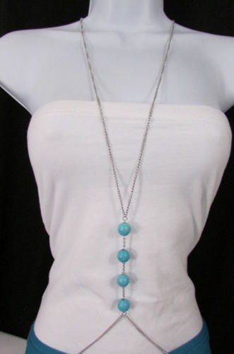 New Women Silver Body Chain Long Necklace 4 Big Turquoise Blue Balls Fashion Jewelry - alwaystyle4you - 3