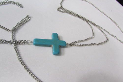 New Women Silver Body Chain Long Necklace Big Turquoise Blue Cross Fashion Jewelry - alwaystyle4you - 3