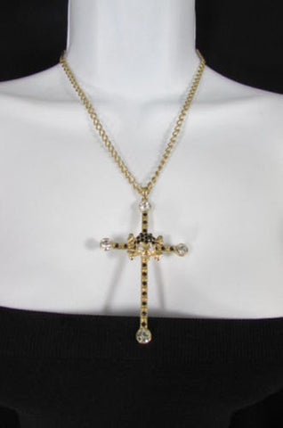 New Women Big Cross Metal Chain Fashion Necklace Gold / Silver / Pewter Rhinestone Pendant - alwaystyle4you - 1