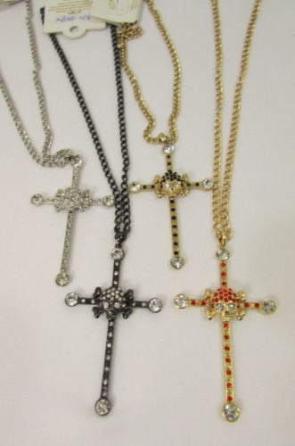 New Women Big Cross Metal Chain Fashion Necklace Gold / Silver / Pewter Rhinestone Pendant - alwaystyle4you - 5