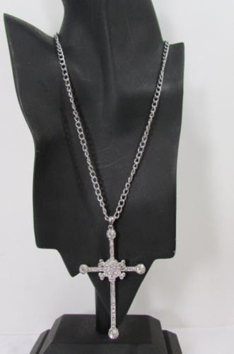 New Women Big Cross Metal Chain Fashion Necklace Gold / Silver / Pewter Rhinestone Pendant - alwaystyle4you - 2