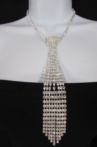 "Silver Metal Chains Long Neck Tie Pendant Rhinestones 14"" Drop Necklace New Women Fashion Accessories"