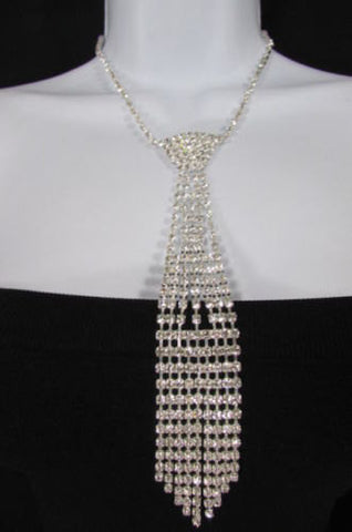 "New Women Fashion Necklace Silver Metal Chains Long Neck Tie Pendant Rhinestones 14"" Drop - alwaystyle4you - 2"