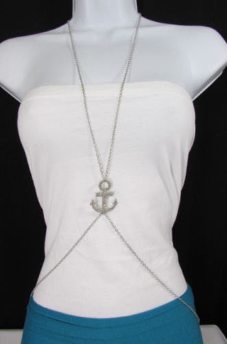 New Women Gold / Silver Metal Body Chain Jewelry Sailor Pendant Fashion Necklace Anchor - alwaystyle4you - 1