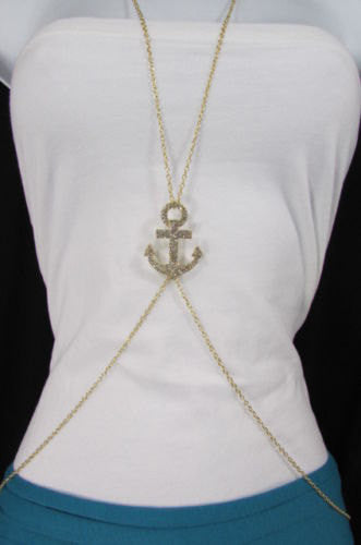 New Women Gold / Silver Metal Body Chain Jewelry Sailor Pendant Fashion Necklace Anchor - alwaystyle4you - 2
