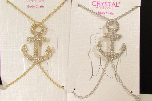 New Women Gold / Silver Metal Body Chain Jewelry Sailor Pendant Fashion Necklace Anchor - alwaystyle4you - 3