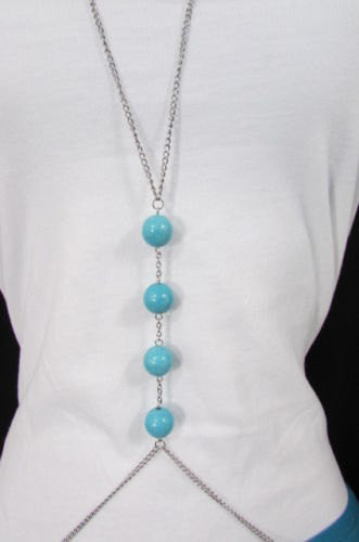 New Women Silver Body Chain Long Necklace 4 Big Turquoise Blue Balls Fashion Jewelry - alwaystyle4you - 2