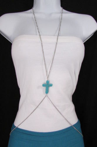 New Women Silver Body Chain Long Necklace Big Turquoise Blue Cross Fashion Jewelry - alwaystyle4you - 1
