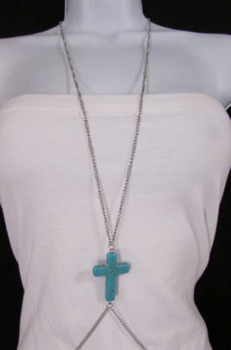 New Women Silver Body Chain Long Necklace Big Turquoise Blue Cross Fashion Jewelry - alwaystyle4you - 2