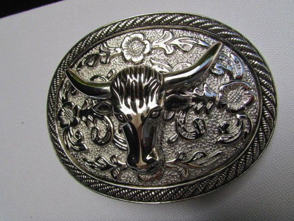 Men Women Cowboy Western Rodeo Belt Big Metal Oval Buckle Silver Bull Head 3D Face - alwaystyle4you - 4