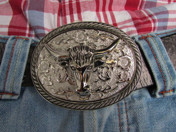Men Women Cowboy Western Rodeo Belt Big Metal Oval Buckle Silver Bull Head 3D Face - alwaystyle4you - 2