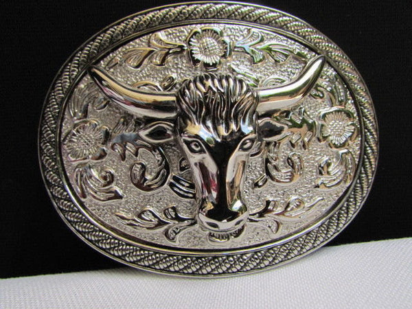 Men Women Cowboy Western Rodeo Belt Big Metal Oval Buckle Silver Bull Head 3D Face - alwaystyle4you - 1