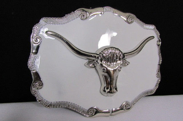 New Men White Metal Cowboy Western Fashion Big Buckle Silver Bull Head 3D Face - alwaystyle4you - 2