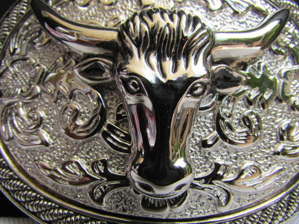 Men Women Cowboy Western Rodeo Belt Big Metal Oval Buckle Silver Bull Head 3D Face - alwaystyle4you - 3