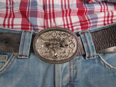 Men Women Cowboy Western Rodeo Belt Big Metal Oval Buckle Silver Bull Head 3D Face - alwaystyle4you - 5