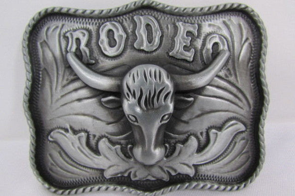 New Men Antique Silver Metal Cowboy Western 3D Belt Buckle Rodeo Bull Head Skull - alwaystyle4you - 2