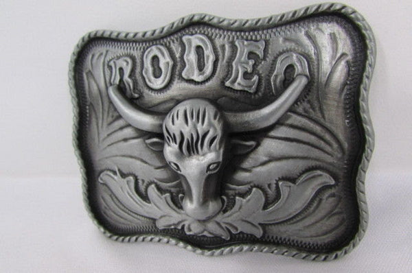 New Men Antique Silver Metal Cowboy Western 3D Belt Buckle Rodeo Bull Head Skull - alwaystyle4you - 3