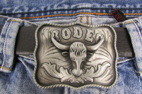 New Men Antique Silver Metal Cowboy Western 3D Belt Buckle Rodeo Bull Head Skull - alwaystyle4you - 1