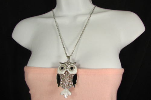"New Women 26"" Drop Extra Long Fashion Necklace Big Owl Bird Rhinestones Gold / Silver Color - alwaystyle4you - 1"