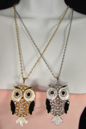 "New Women 26"" Drop Extra Long Fashion Necklace Big Owl Bird Rhinestones Gold / Silver Color - alwaystyle4you - 4"