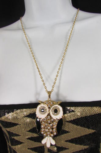"New Women 26"" Drop Extra Long Fashion Necklace Big Owl Bird Rhinestones Gold / Silver Color - alwaystyle4you - 5"