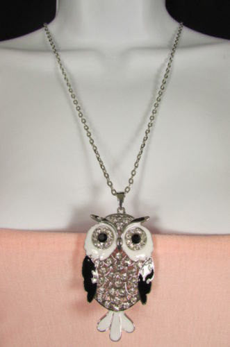 "New Women 26"" Drop Extra Long Fashion Necklace Big Owl Bird Rhinestones Gold / Silver Color - alwaystyle4you - 3"