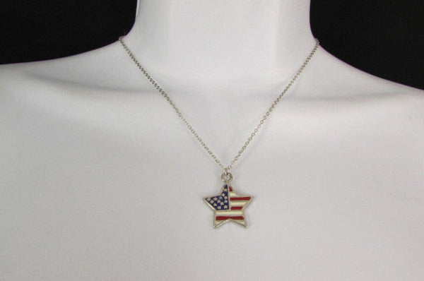 USA American Flag Star/Square/Heart Silver Metal Necklace + Matching Earring Set New Women - alwaystyle4you - 7