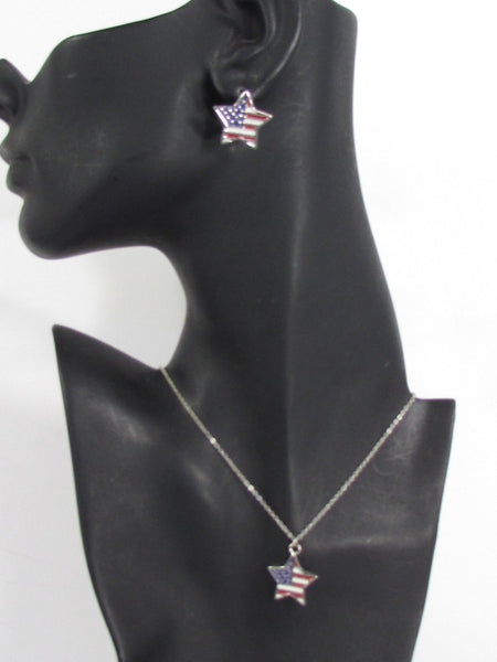 USA American Flag Star/Square/Heart Silver Metal Necklace + Matching Earring Set New Women - alwaystyle4you - 1