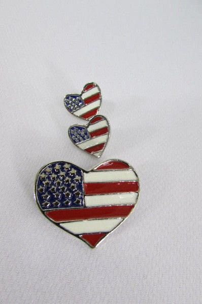 New Women American Flag Heart USA Silver Metal Pin Broach + Matching Earring Set - alwaystyle4you - 4