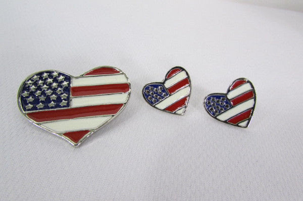 Silver Metal Pin Broach American Flag Heart USA Matching Earring Set New Women Accessories