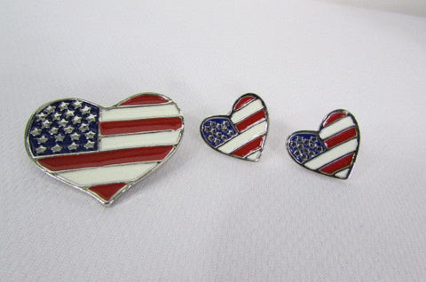 New Women American Flag Heart USA Silver Metal Pin Broach + Matching Earring Set - alwaystyle4you - 1