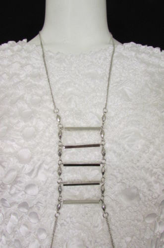 Silver Metal Classic Body Chain Sexy Ladder Long Necklace New Women Trendy Fashion Jewelry