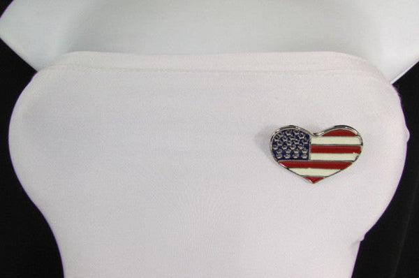New Women American Flag Heart USA Silver Metal Pin Broach + Matching Earring Set - alwaystyle4you - 2