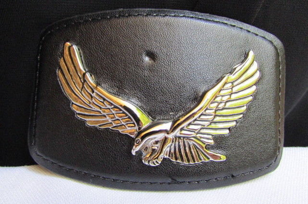 Silver Metal Flying Eagle Buckle Black Faux Leather New Men Rodeo Cowboy Accessories