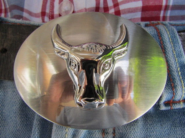 New Men Women Cowboy Western Belt Big Metal Oval Buckle Silver Bull Head Texas - alwaystyle4you - 2