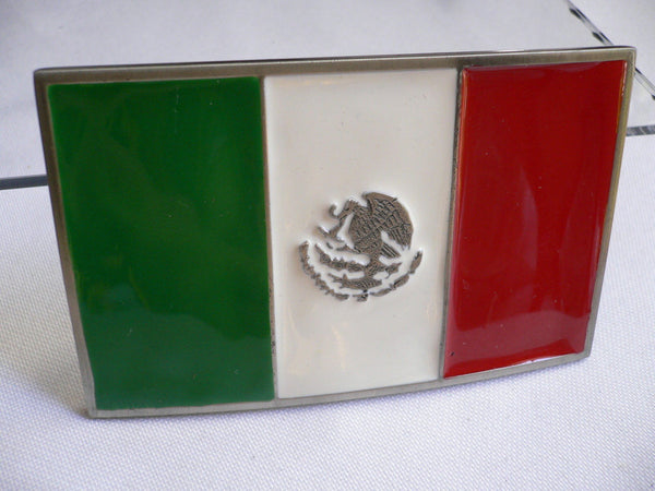 Green White Red Mexico Flag Rodeo Cowboy Large Buckle Eagle Men Women Accessories