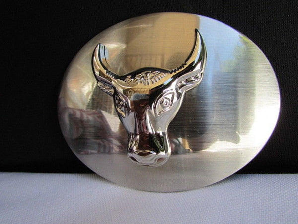 New Men Women Cowboy Western Belt Big Metal Oval Buckle Silver Bull Head Texas - alwaystyle4you - 1