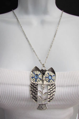 "New Women 17"" Extra Long Drop Classic Fashion Necklace Big Silver / Gold Metal Owl Rhinestones - alwaystyle4you - 4"